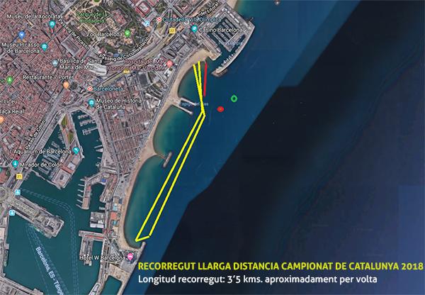 Mapa larga distancia. Campeonato de Cataluña de SUP Race