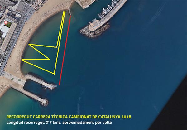Mapa carrera técnica. Campeonato de Cataluña de SUP Race