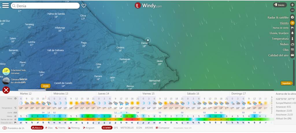 Mapa meteorológico de tu zona. Club Surf Dénia . Paddle Surf
