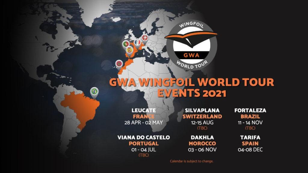 Mapa de eventos del GWA Wingfoil World Tour 2021